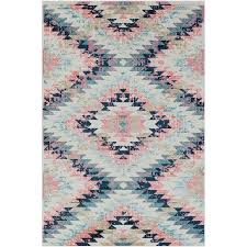 trocadero boho geometric pink navy rug