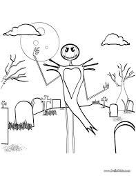 Small Picture Skeleton scarecrow in graveyard coloring pages Hellokidscom