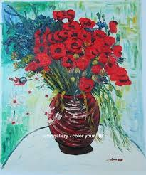 oil painting hand painted signed stock oil painting van gogh red poppies rose dy