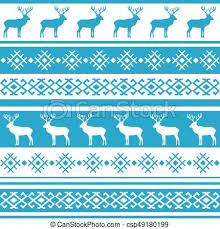 Nordic Pattern Beauteous Ethnic Nordic Pattern With Deer Vector Illustration Ethnic Nordic