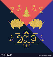 Modern Happy New Year Card 2019 Year Of The Pig Vector Image