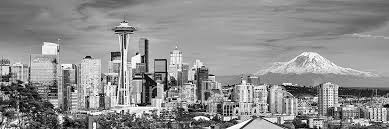 Seattle Cityscape Seattle Skyline Photo Print Unframed Dusk Bw Black White City Downtown 11 75 Inches X 36 Inches Rainier Photographic Panorama Poster Picture
