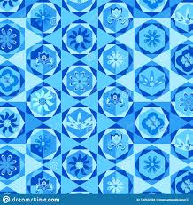 Blue Modern Hexagons Repeating Pattern With Decorative