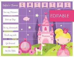 Editable Reward Chart Editable Printable Princess Chore Chart Reward Chart