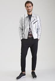lyst forever 21 metallic faux leather moto jacket in for men