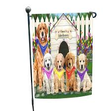 spring fl golden retriever dog garden flag