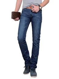 Buy Soft <b>Men's</b> Straight <b>Slim</b> Deep Blue Jeans & Jeans - at Jolly Chic