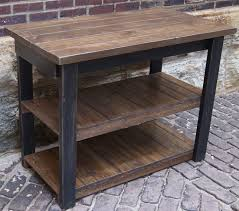 Rustic kitchen island table Breakfast Bar Cut Out Distressed Rustic Kitchen Island With Double Shelves For Kitchen Appliance Organizer On Paving Block Floor Amazoncom Distressed Rustic Kitchen Island With Double Shelves For Kitchen