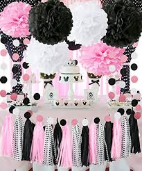Minnie Mouse Party Decorations Minnie Mouse First Birthday Party Decorations Pink White Black Tissue Pom Pom Tassel Garland Minnie Mouse Party