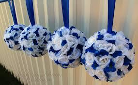 Greek Table Setting Decorations Royal Blue Flower Ball Wedding Centerpiece Wedding Decor Wedding