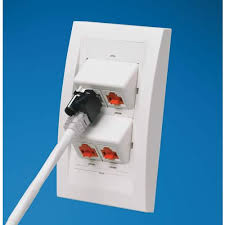 panduit rj45 lock in device for ethernet cable cableorganizer com panduit rj45 plug lock in device in use on wallplate