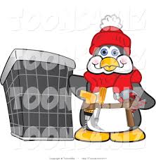 tool belt clipart. vector illustration of a cartoon handy penguin mascot wearing tool belt and standing by an clipart
