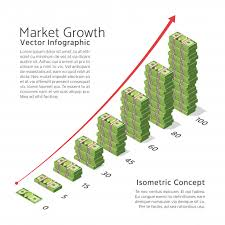 Ex Currency Chart Market Growth Vector Background With Chart And Dollar