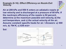 example 6 16 effect efficiency on nozzle exit velocity