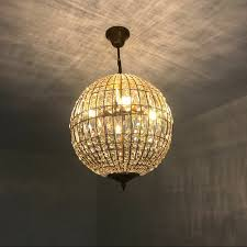 details about modern crystal globe ball pendant light gold round chandelier ceiling lighting