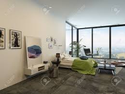 Großzügige Helle Moderne Schlafzimmer Interieur Mit Großen Boden Bis