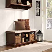 brennan mahogany entryway storage bench crosley furniture storage