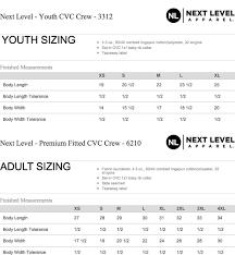 Next Level Kids Size Chart Team Ace Apparel Product Youth Next Level Cvc Crew T Shirt