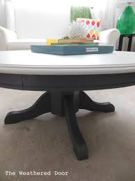painted pedestal coffee table the weathered door rectangle pedestalcoffeetab