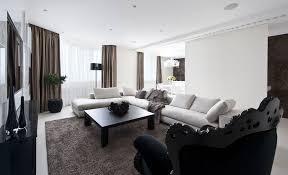 modern apartment living room ideas black. Architecture, Black And White Interior Color Modern Apartment Living Room Furniture Design Ideas With Chaise V
