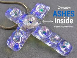 cremation jewelry cross layered clear diamonds dichroic gl moonstone blue opal pink accents memorial pendant