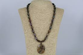 semi precious stones necklace with pendant agates mysterious india necklaces beads handmade livemaster handmade necklace with pendant