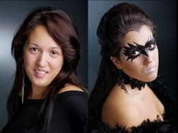 makeup ideas women paint black mask crow