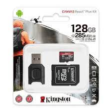 Thẻ nhớ microSD Kingston Canvas React Plus V90 cho quay video UHS-II 4K/8K,  Flycam HD MLPMR2/128GB - Thẻ nhớ máy ảnh