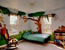 ... Stunning Interior Ideas For Boys Bedroom Designs : Fantastic Zoo Wall  Painting Room With Blue Comforter ...