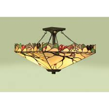 arbois arts and crafts style tiffany semi flush ceiling light
