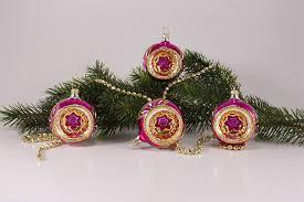 4 Reflexkugeln ø 6cm Im Set Pink Gold Christbaumschmuck Aus Lauscha