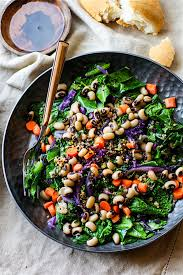 healthy yummy lunch ideas. vegan rainbow power greens salad with black eyed peas from cotter crunch healthy yummy lunch ideas