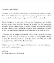 Example Reference Letter For Employee Sample Reference Letter For