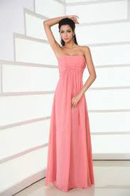 Buy Cheap Strapless Floor Length Chiffon Coral Bridesmaid Dress Coral Wedding Dress Uk