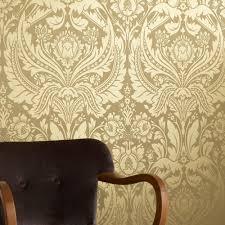 graham brown desire shimmer damask motif pattern gold wallpaper