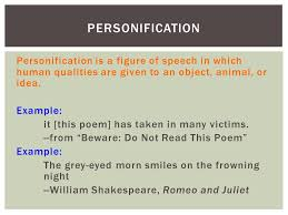poetry terms english i ppt  10 personification personification