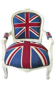 baroque armchair for child louis xv style union jack and beige lacquered wood