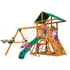 outing iii wooden playset with rock wall and slide