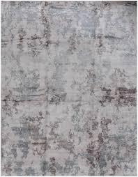 rugsville designer reserve blue brown hand knotted tibetan silk rug 270 x 360