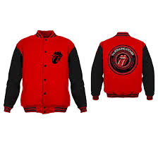 Rolling Stones Tongue Logo - Mens Red/Black Varsity Jacket ...
