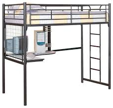 graceful metal bunk bed with desk underneath black guard twin loft futon upholstered chair corner contemporary