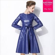 2018 autumn new las pu leather dress plus size office wear faux leather dress women long sleeve
