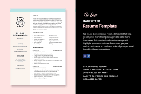 Babysitting Resume Template Simple Babysitter Resume Template Resume Templates Creative Market