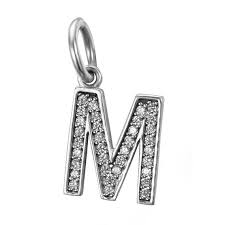 alphabet letter m dangle pendant charm sterling silver with cubic zirconia fits to all pandora charm bracelets