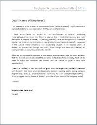 Sample Of Employee Reference Letter Employee Recommendation Letter Resumee Employee Recommendation