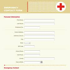 emergency contact template emergency contact information form template