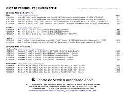 Formato De Lista De Precios Equipos Mac Formato Pdf
