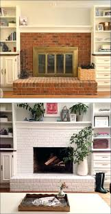 refinish brick fireplace fireplace before and after painted brick redo brick fireplace paint