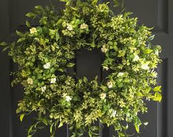 wreaths for front doorsBoxwood Wreath with White Tea Leaf Flowers Display Wreath