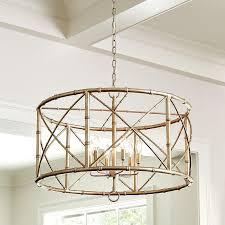 drum lighting chandeliers bamboo 6 light gold drum chandelier foyer paint ideas